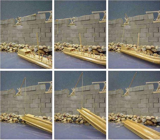 Σχήμα 9 Αναπαράσταση διαδικασίας ανύψωσης και άφεσης πλώρης από την Σιδηρά Χείρα.
