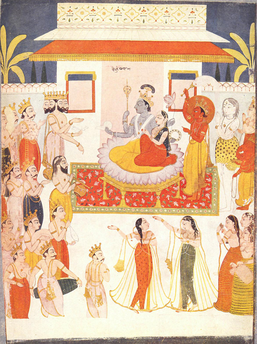 VAIKUNTHA, THE HEAVEN OF VISHNU. Rajasthani school, about 1750. Painting on paper. Lady Rothenstein collection