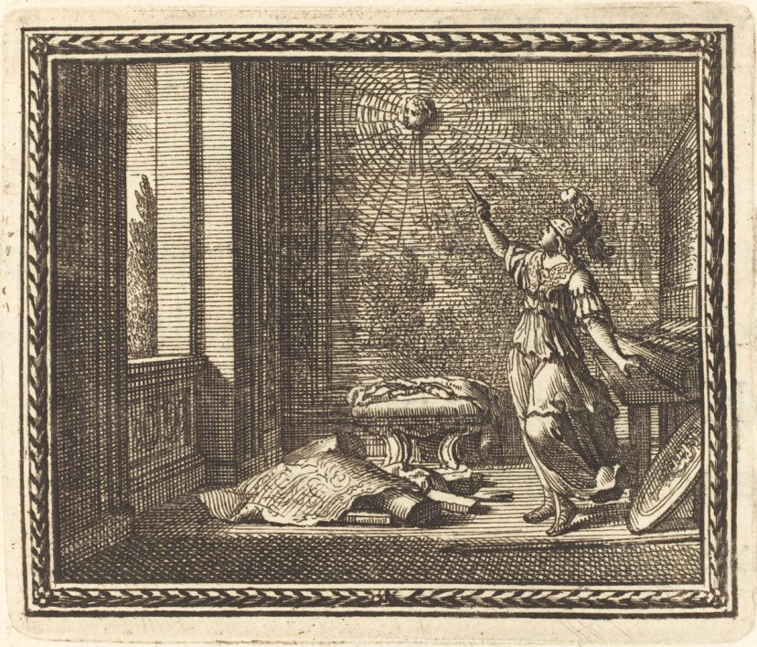 Jean Lepautre (French, 1618 - 1682 ), Minerva Changing Arachne into a Spider, published 1676, etching and engraving on laid paper, Anonymous Gift