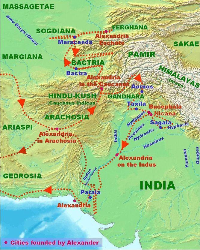 Χάρτης Ινδικής εκστρατείας Μεγ. Αλέξανδρου_πηγή wikipedia