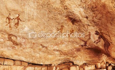 Διάσημη προϊστορική βραχογραφία της Tassili n'ajjer, Αλγέρι. URL [http://gr.depositphotos.com/35425425/stock-photo-rock-paintings-of-tassili-najjer.html]