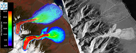 Left: RAMMS simulations of the maximum flow height of the two avalanches (image by SLF) and the deposition patterns of the real avalanche events (right). (TerraSAR-X imagery acquired on 24 September 2015 by DLR).