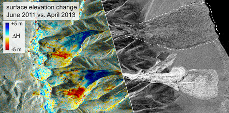 Left: Elevation changes reveal the surge-characteristic height changes of the two glaciers before they collapsed. Right: The radar image shows both avalanches on 24 September 2016. (Image: Silvan Leinss / ETH Zurich; satellite data source: TanDEM-X / TerraSAR-X, DLR)