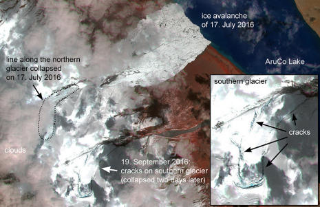 The Sentinel 2 images from 19. September 2016 shows a several kilometre long crack indicating that the southern glacier is detached from its base. (Image: Silvan Leinss / ETH Zurich; satellite data: Sentinel 2, ESA.)