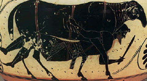 Ο Οδυσσέας ξεφεύγει από τη σπηλιά του Πολύφηµου, δεµένος κάτω από την κοιλιά του κριαριού. Από αρχαίο ελληνικό αγγείο. url [http://ebooks.edu.gr/modules/ebook/show.php/DSDIM-C103/88/698,2636/]