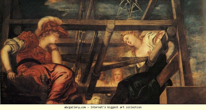 Jacopo Robusti, called Tintoretto. Athena and Arachne. 1543-44. Oil on canvas. 145 x 272 cm. Palazzo Pitti, Galleria Palatina, Florence, Italy. URL