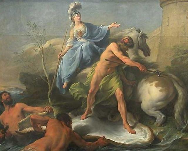 Η διαμάχη μεταξύ Ποσειδώνα και Αθηνάς (Noel Halle 1748) URL [http://habilisii-habilis.blogspot.gr/2013/08/blog-post.html]