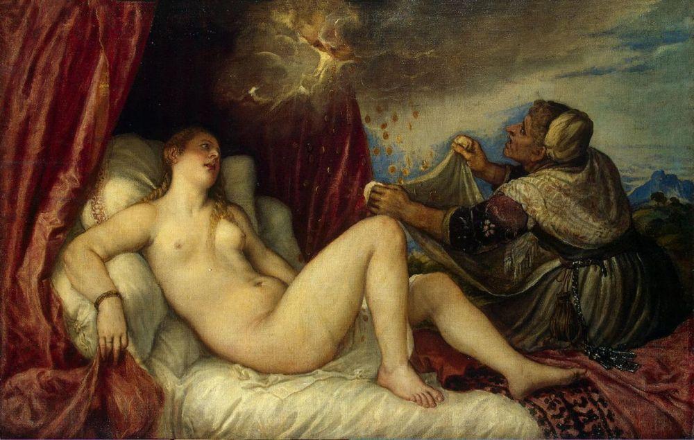 Δανάη Πίνακας του Τιτσιάνο (1553-54), Μουσείο Ερμιτάζ wikipedia URL [https://el.wikipedia.org/wiki/Δανάη#/media/File:Titian_-_Danae_(Hermitage_Version).jpg]