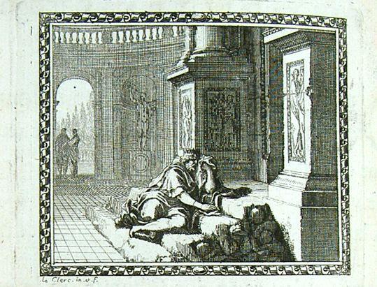 Ο Κινύρας θρηνεί τα παιδιά του Cinyras pleure ses enfants (Mét. en rondeaux Mabre-Cramoisy 1676) - Le Clerc URL [http://utpictura18.univ-montp3.fr/GenerateurNotice.php?numnotice=A2172]