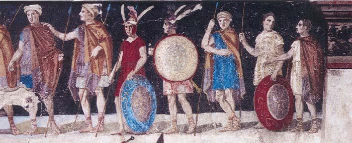 Μωσαϊκό που απεικονίζει Μακεδόνες στρατιώτες_τύμβος Αγ. Αθανασίου_Θεσσαλονίκη_4ος αιώνας π.Χ_wikipedia