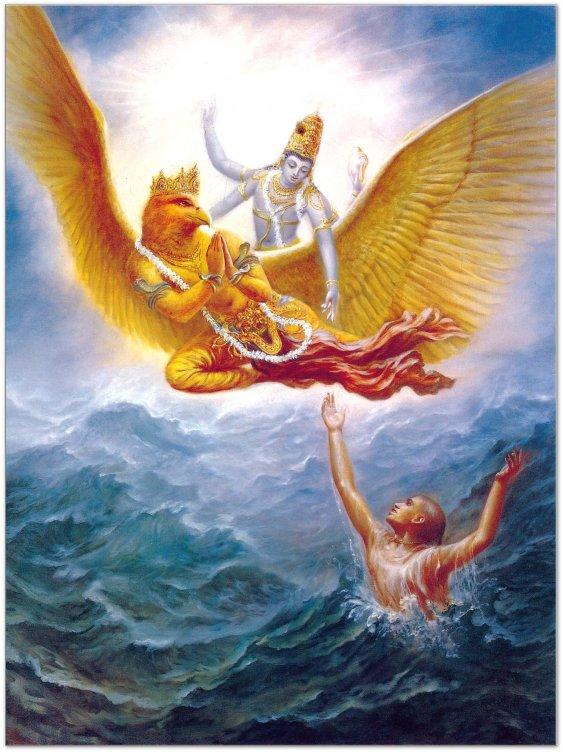 Ο θεός Vishnu με το Garuda.