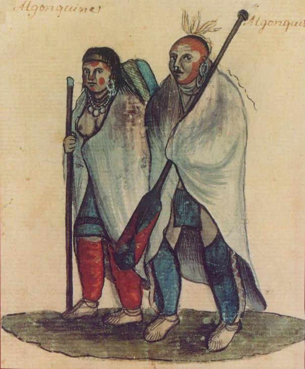 Ζευγάρι Algonquin. Υδατογραφία του 18ου αι. wikipedia