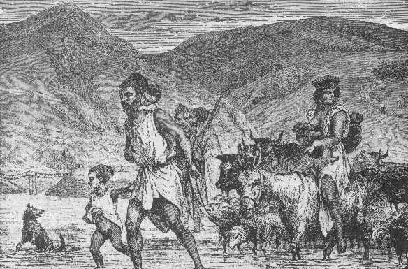 Οικογένεια Βερβέρων διαπλέει ποταμό. Γκραβούρα του 19ου αι. -wikipedia