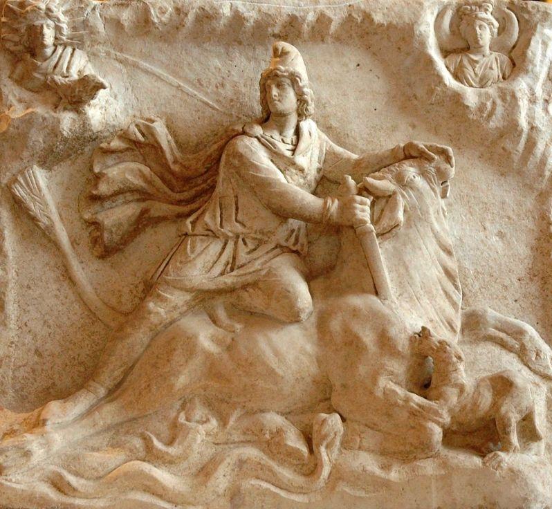 Ο ταυροκτόνος Μίθρας, από ρωμαϊκό μαρμάρινο ανάγλυφο του 2ου ή 3ου αιώνα ΚΧ. (Μουσείο Λούβρου)