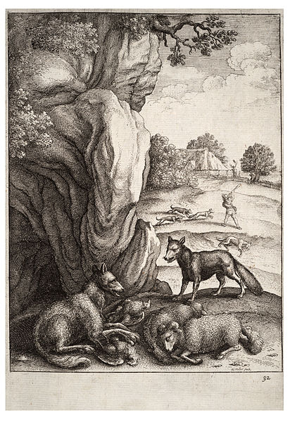 412px-Wenceslas_Hollar_-_The_wolf_and_the_fox_2